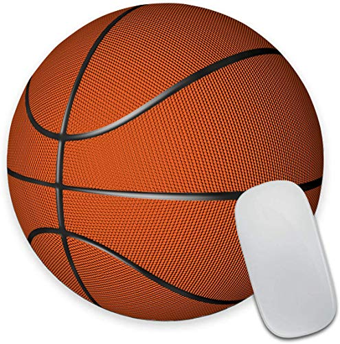 Round Mouse Pad, Basketball Mouse Pad, Cool Mouse pad, Novelty Sport Mouse Mat, Non-Slip Rubber Base Portable Mousepad, Circular Waterproof Mouse Pad for Boys Kids, Small Size for Office Home Travel