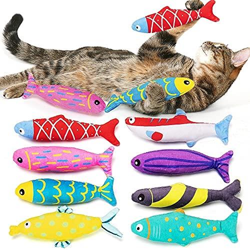 beetoy 8 pcs Katzen kauspielzeug, Katzenminze Spielzeug, Interaktiv katzenspielzeug für Katze, Nettes Bionic Plüsch Fisch Kitten Spielzeug Set mit Katzenminze