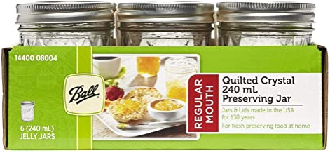 Ball 1440008004 Jar Regular Mouth Quilted 8oz (6 Pack), Clear/Silver