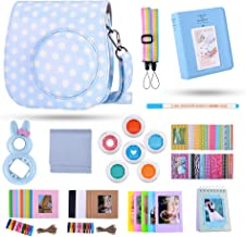 Famall 13 in 1 Instax Mini 9 Camera Accessories Bundles for FujiFilm Instax Mini 9 8 8+ Camera with Mini 9 Case/Album/Selfie Lens/Filters/Wall Hang Frames/Film Frames/Border Stickers - Blue and White