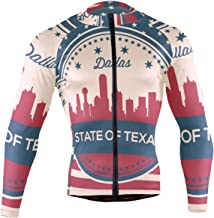 Texas State Dallas Skyline Men's Long Sleeve Cycling Jersey Bicycle Jacket Pockets Full Zipper Bike Biking Shirts