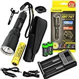 EdisonBright Nitecore SRT7GT 1000 Lumen CREE LED Built in Red, Green, Blue, UV Lights, Flashlight w/ NL189 18650 Li-ion Rechargeable Battery,Nitecore i2 Charger and 2 X CR123A Batteries Bundle