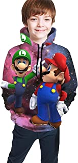 guoweiweiB Sudadera Juvenil con Capucha Mario and Luigi Unisex Kids 3D Hoodie for Boys Hooded with Pockets