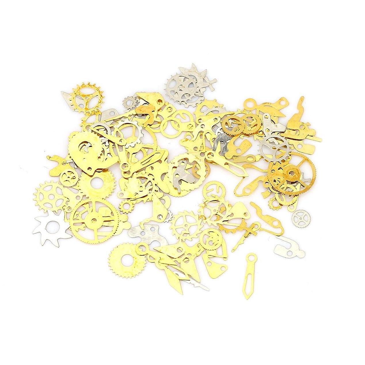委託百年省ネイルチップ - Dewin つけ爪 キラキラ スチームパンク ギア デコレーション メタルシェルパーツ 収納ケース付き (Color : Silver)