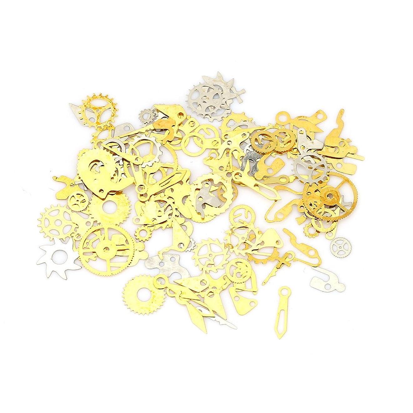 ネイルチップ - Dewin つけ爪 キラキラ スチームパンク ギア デコレーション メタルシェルパーツ 収納ケース付き (Color : Silver)