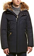 Mackage Mens Edward Luxe Down Leather-Trim Coat, 36, Blue