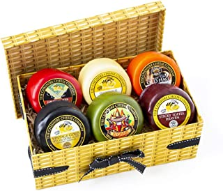 6 x 'Lucky Dip' Cheese Selection 200g Faux Wicker with Ribbon