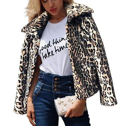 6b258edf9b3e Women's Leopard Faux Fur Coat Vintage Warm Long Sleeve Winter Warm Parka  Jacket Outwear
