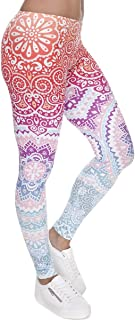 Ndoobiy Women`s Printed Leggings Full-Length Regular Size Workout Legging Pants Soft Capri L1
