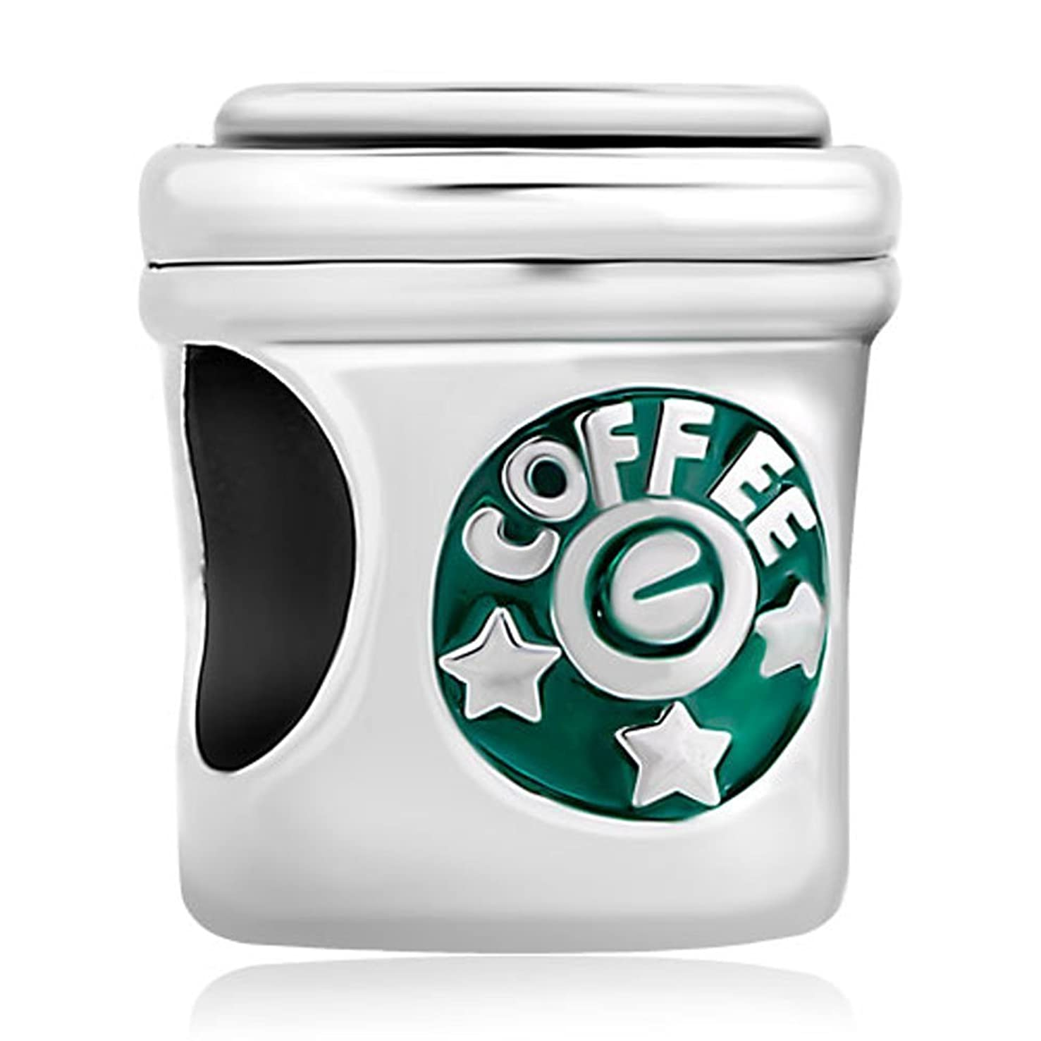 Creationtop Golded Butterfly Green Birthstone Snowflake Stars Coffee Cup Love Cafe Bead for European Bracelets