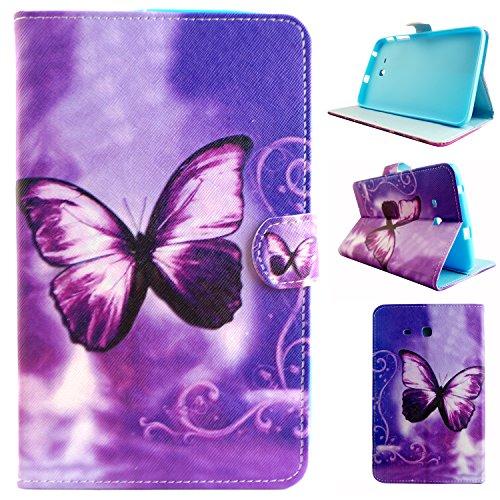 Asnlove Galaxy Tab 3 Lite 7Zoll Tablet Hülle, PU Ledertasche Schutzhülle+Hart Hülle für Samsung Galaxy Tab 3 Lite 7Zoll T110 Lila Schmetterlings-Traum-Muster Hülle Flip Tasche Schutz Tablet Cover