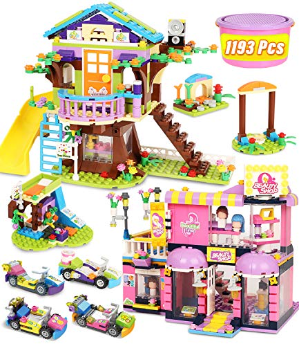 Tree House Building Blocks Set Toy House for Kids Girl, 1193 Pcs Hairdressing Hair Salon Creative Building Bricks Blocks Kit, STEM Learning Roleplay Gift Toy for Boy Girls Kids Toys with Storage Box