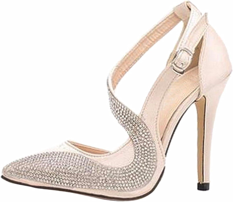 Qiyun Sexy Women Noble Rhinestone Stilettos Heel Sandals Pointy Toe Ankle Strap shoes