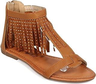 Women Leatherette Open Toe Fringe Rhinestone Gladiator Sandal EG23 - Tan
