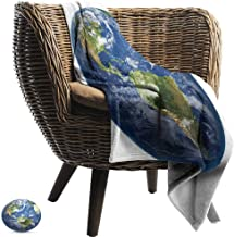 World Map Decorative Throw Blanket Planet Earth Picture from Space Satellite Continents Clouds Picture Fall Winter Spring Living Room Navy Blue Green White