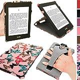 igadgitz U3531 Funda Eco-Piel Case Compatible con Amazon Kindle Paperwhite 2015 2014 2013 2012 con correa de mano integrada - Rosa con mariposas