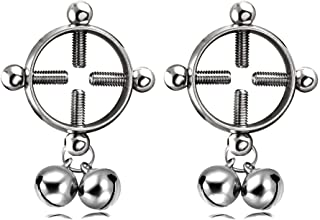Niome 1 PC Round Bell Nipplerings Non-Piercing Stainless Steel Screw Adjustable Fake Nipple Ring Body Jewelry