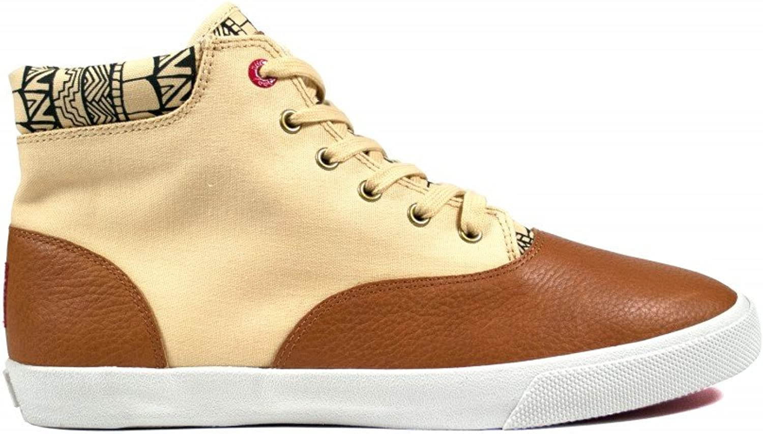 Pindou mid Bucketfeet Womens Canvas Lace-Up 8 Brown Black
