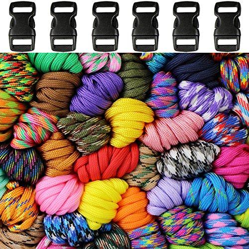 Paracord Armband Kit 6er Farbe Paracord Set Seil 4mm 7 Kernfäden Nylonseil 6 Klickverschlüssen aus Kunststoff für Kinder-handgewebte Farbe Armband Seil - Kid Kind Geschenk Bush Craft Spielzeug