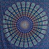 Momomus Tenture Mandala - 100% Coton - Grande Serviette/Drap de Plage XXL - Tissu Mural, Paréo, Natte/Tapis de Plage Anti Sable - 210x230 cm, Blau