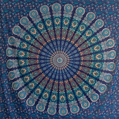 momomus Tapiz de Mandala - Hecho a Mano con Algodón 100% y Tintes Vegetales Naturales - Adornos de Arte para Pared de Hogar, Pareo/Toalla de Playa Grande, Sofá - Azul B, 210x230cm