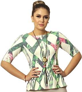 bfd889551c Blusa Feminina com Proteção Solar UV Meia Manga Estampa Geométrica  Exclusiva Verde com Flores Decote Canoa
