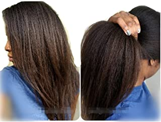 N.L.W. Italian Yaki Lace Front Human Hair Wigs for Black Women Brazilian Remy Hair Glueless Lace Wig with Baby Hair 12inches