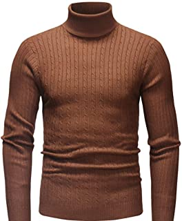 Nansiche Turtleneck Sweater Ribbed Slim Fit Knitted Pullover Relax Fit Knitwear for Men