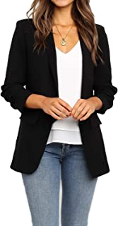 POGTMM Women`s Casual Work Office Blazers Open Front Cardigan Long Sleeve Blazer Jackets Suit with Pockets