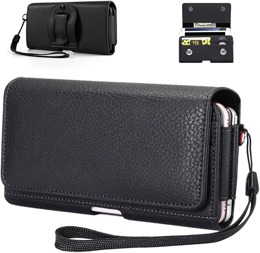Dual Pocket Phone Holster Belt Clip Pouch for iPhone 12 11/ Samsung Galaxy S21 S20 S10 A10S A10e A01 Note10/ Google Pixel 4a 5G Pixel 5 4/ Moto G8 Power G7 E6, Two Cellphone Carrying Case Card Holder