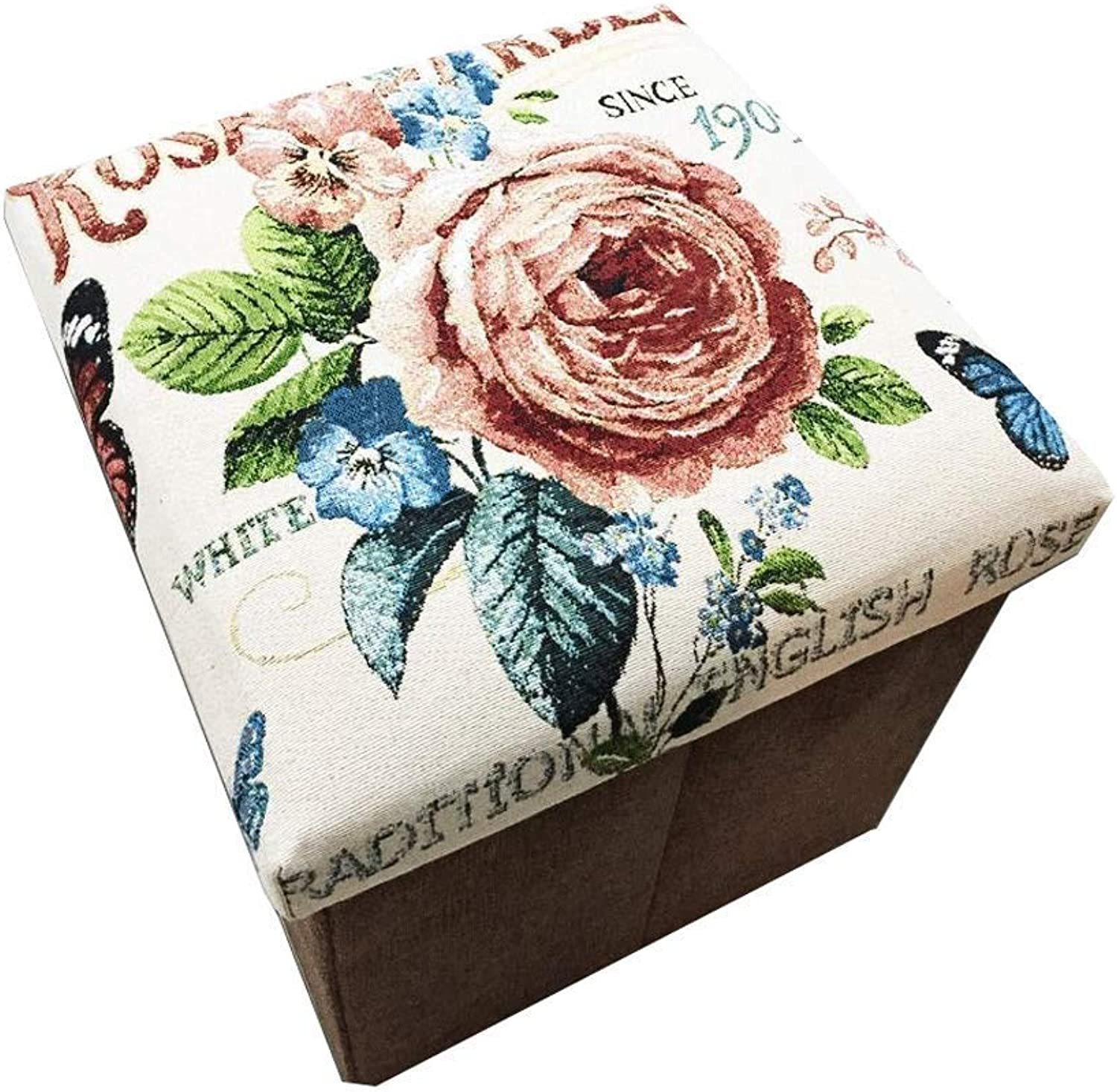 Cotton and Linen Footstool Large Capacity Storage Foldable Design Fine Workmanship Storage Stool 32X32X30CM Haiming (color   C, Size   32X32X30CM)