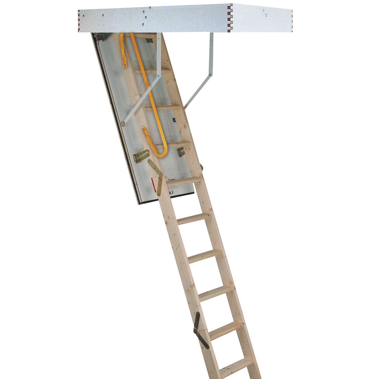 Escalera plegable de madera de 3 secciones, kit de manija y escotilla de puerta y marco –