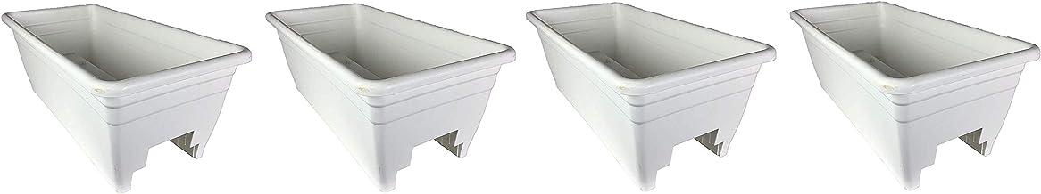 "HC Companies Heavy Duty 24"" W Akro Deck Rail Box Planter White w/Plugs (4 Pack)"