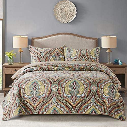 NEWLAKE Cotton Bedspread Quilt Sets Reversible Patchwork Coverlet Set European Paisley Blossom product image
