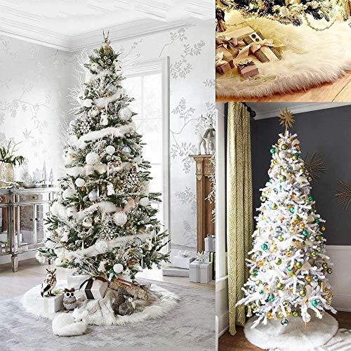 Awtlife - Tappetino per albero di Natale, in peluche, decorazione natalizia, diametro 153 cm, bianco