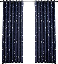 Vosarea Blackout Window Curtain Stars Moon Thermal Insulated Noise Reducing Grommet Top Window Treatment for Girls Room 100x250cm (Navy)
