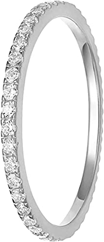 new arrival OPTIMISTIC 2mm Copper Ring Silver Wedding Bands with Zircon Stone Women's Eternity lowest Anniversary Ring high quality Band Ring, Size 9 outlet sale