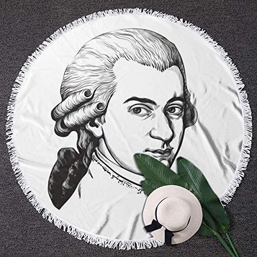 Aubrdon Wolfgang Amadeus Mozart Portrait 150 CM Couverture de Serviette de Plage Ronde en Microfibre avec Glands Tapis de Pique-Nique