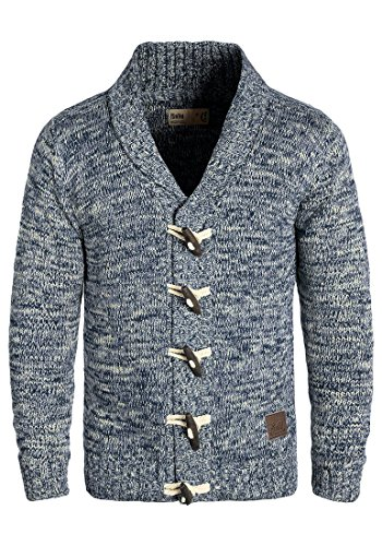 !Solid Prewitt Herren Strickjacke Cardigan Grobstrick Winter Pullover mit Schalkragen, Größe:XL, Farbe:Insignia Blue (1991)