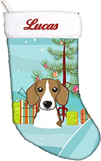 Caroline's Treasures BB1611CSEMB Christmas Tree and Beagle Personalized Christmas Stocking, Large, Multicolor