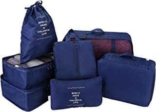 Rayking 7 Set Packing Cubes Travel Luggage Waterproof Organizers - 3 Travel Cubes + 3 Pouches + 1 Shoe Bag