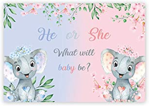 Funnytree 7x5ft Elephant Gender Reveal Party Backdrop Pink Blue Boy or Girl Baby Shower Flowers Photography Background He or She Gender Surprise Floral Cake Table Decorations Photo Booth Banner