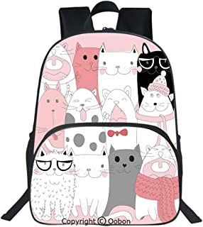 Oobon Kids Toddler School Waterproof 3D Cartoon Backpack, Cute Cartoon Kittens Collection Funny Smiling Glasses Scarfs Doodle Humor, Fits 14 Inch Laptop