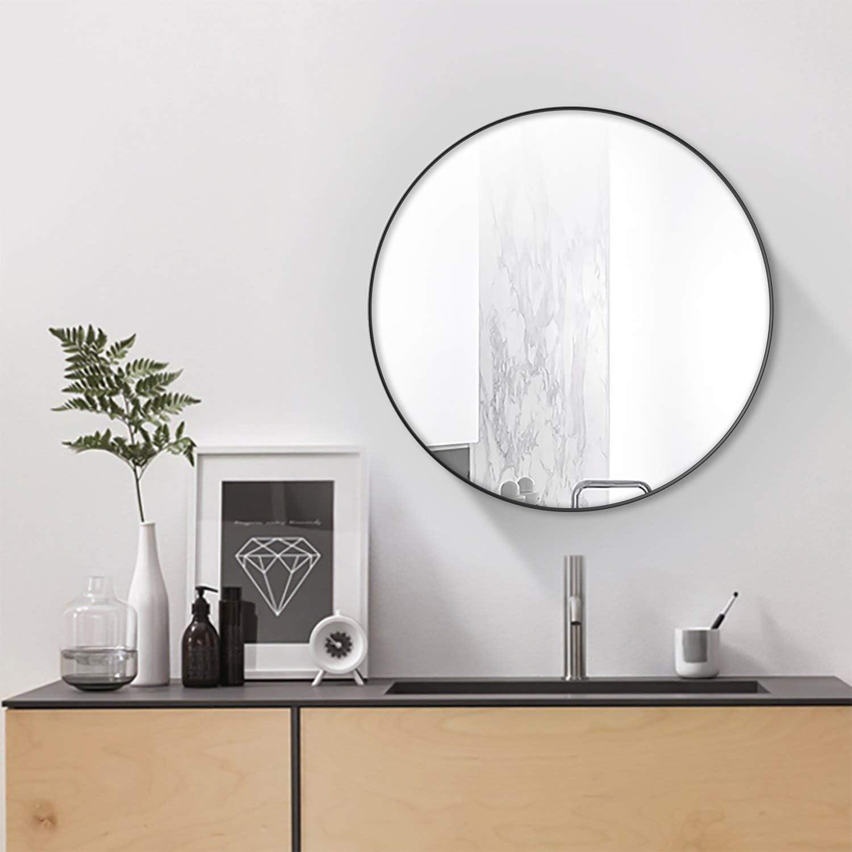 Simmer Stone 25.6  Wall Mount Round Mirror, Modern Decorative Metal Framed Mirror, Black