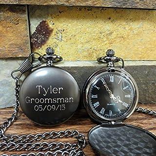 Personalized Gunmetal Pocket Watch Custom with Monogram Engraved - Gifts for Men- Best man - Groomsman - Christmas - Monogrammed