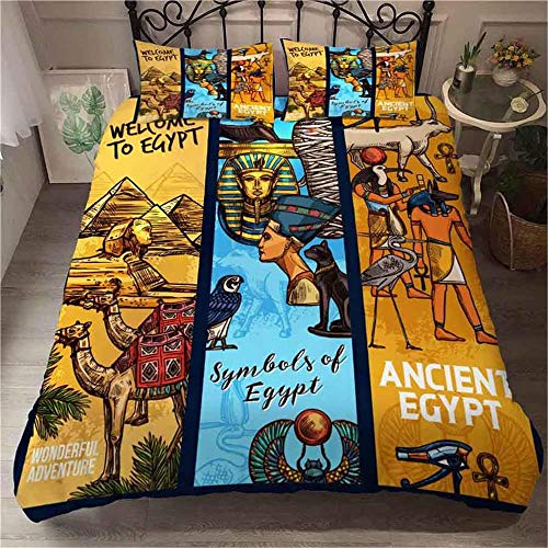 YLAXX Duvet Covers King Size Beds Egypt Pyramid Sphinx Camel Figure Yellow 220 X 230 Cm Super Soft Anti-Allergy 4 Piece 3D Printed Duvet Covers Fitted Bed Sheet,Pillow Case - Bedding Sets -