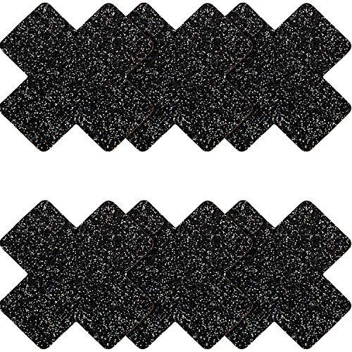 SATINIOR 6 Pairs Glitter Nipple Breast Covers Crossed Nipple Stickers Disposable Pasties (Black)