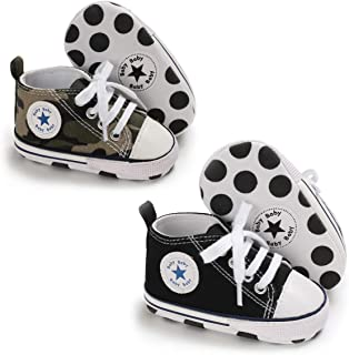 Tutoo Unisex Baby Boys Girls Star High Top Sneaker Soft Anti-Slip Sole Newborn Infant..
