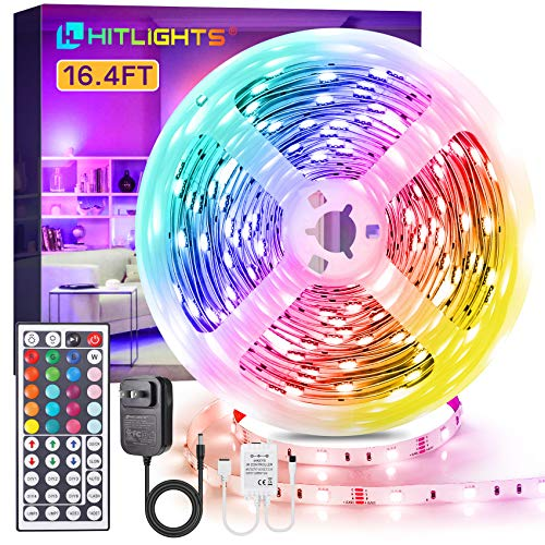 LED Strip Lights, HitLights 16.4ft RGB LED Light Strips 5050 Small LED Tape Light, Color Changing LED Strip Lights with Remote and 12V UL Adapter for TV Backlight Gaming Room Bedroom Wall Tiktok Party
