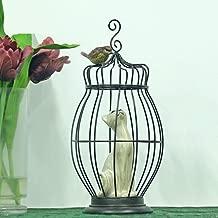 AXIANNV Estatua Hierro Birdcage Cat Statue Resina Hecha a Mano Escultura de pájaros Kitty Curiosity Decoración Regalo y artesanía Adorno Muebles-Multi-Colored-M